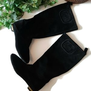 FERRAGAMO Flat black suede supple boots